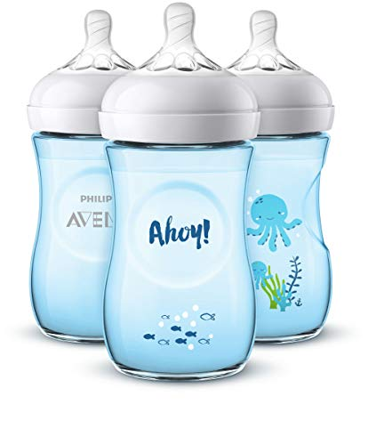 Avent BPA Free 3 Pack 9 Ounce Decorated Natural Bottle - Blu