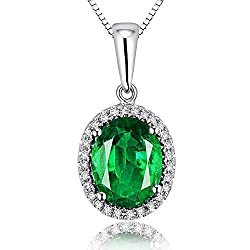 White Gold Emerald Diamond Pendant Necklace