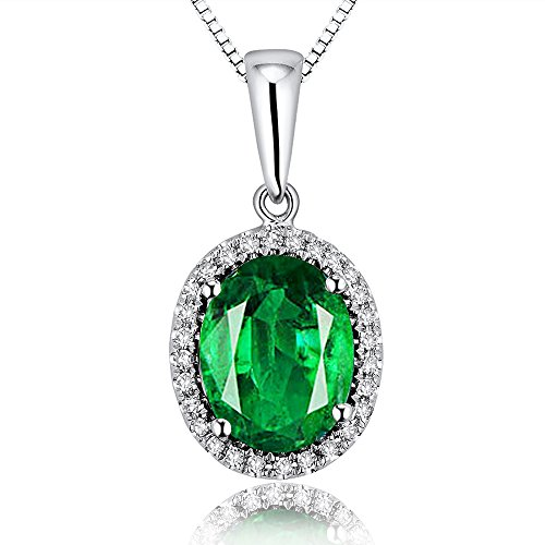 Lanmi 14K White Gold Natural Green Emerald Diamond Pendant Necklaces Engagement for - Oval Pendant Genuine Emerald Green