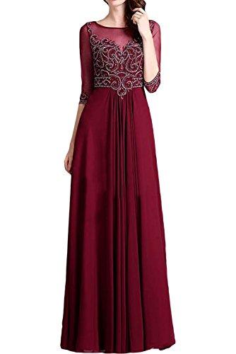 Braut Chiffon Brautmutterkleider La Burgundy Marie Abendkleider Neu Pailletten Langarm Burgundy Partykleider 6w1w5A7Sq