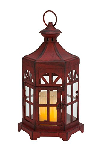 Cheap Biedermann & Sons Antique Lantern Candle Holder, Red