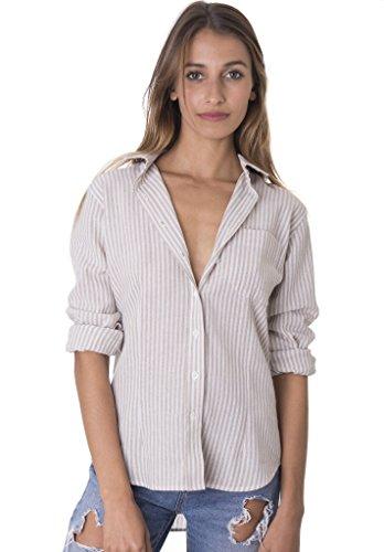 CAMIXA Women's 100% Linen Casual Shirt Slim Fit Button-Down Airy Basic Blouse L Beige White