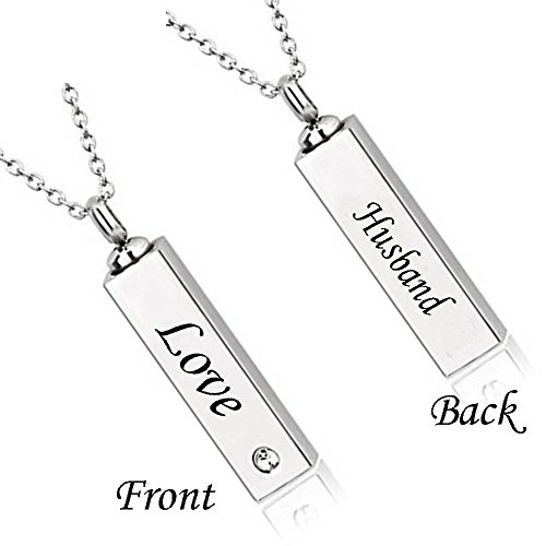 Katie Collection by Urnseller Husband Cremation urn Keepsake Jewelry bar with Necklace Chain for Ashes