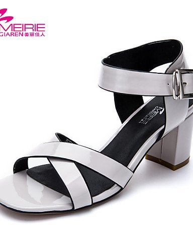 Chunky Black Leather Heel Heels ShangYi Office Open Shoes Silver Toe Sandals Women's Casual amp; Silver Career Patent Gray IXwxX6tq