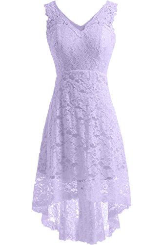 Linie Hochzeitskleid Ausschnitt V Satin Bride Gorgeous A Kurz Elegant Lilac Brautkleid Spitze aHRY1