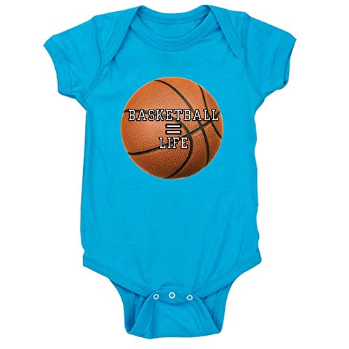 (Royal Lion Infant Bodysuit Dark Basketball Equals Life - Turquoise, 18 to 24 Months)