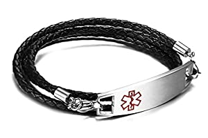 JF.JEWELRY Medical Alert ID Bracelets for Women 3-Layers Black Braided Leather Bracelet,6.2-8.2 inches