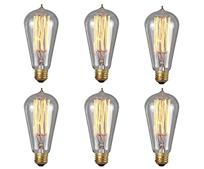 Edison Bulb, KinHom 60 Watt 110-130V Nostalgic Exposed Filaments Waterdrop Top Shape Vintage E26 Lights ST58 Squirrel Cage Dimmable Clear Glass Light for Wall Sconces Pendant Lighting (6 PACK)