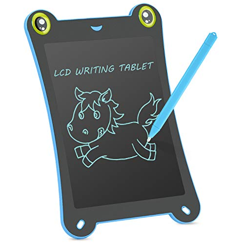 Children's Board LCD Writing Tablet NEWYES NYF850 8.5 Inch Frog Handwriting Tablet Graphic Drawing Board Digital Portable Magnetic Magnetic Durable Pads Kid's Gift Pad 1 Year Warranty (Blue-Frog)