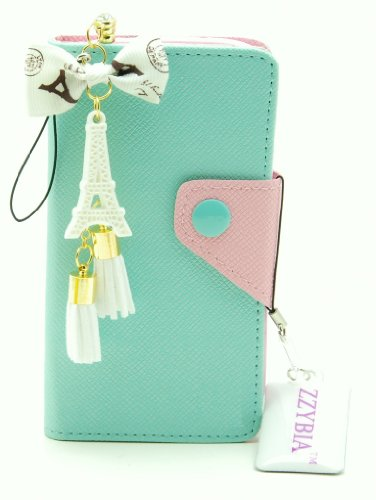 ZZYBIA S3 LMZT Mint Leatherette Case Card Holder Wallet with Eiffel Tower Fringed Dust Plug Charm for Samsung Galaxy S3 III I9300 I9305