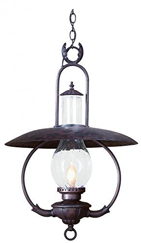 Troy Lighting La Grange 20W 1-Light Outdoor Pendant - Old Bronze Finish with Clear Seeded Glass by (Old Bronze Troy Lighting)
