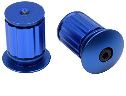 num Bike Handlebar Bar End Plugs, Expanding Adjustable Locking Caps, Road Bicycle Grip Mountain BMX MTB Fixie (Blue) ()