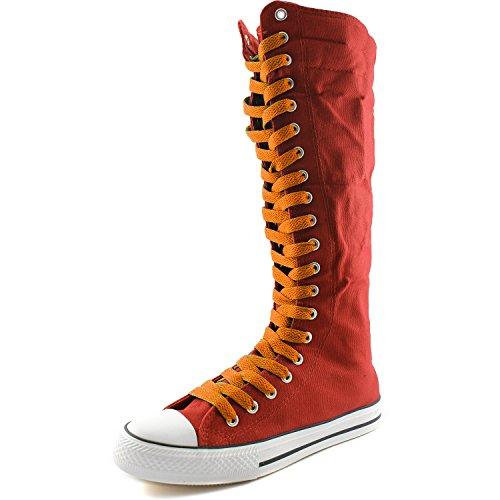 Dailyshoes Toile Femme Mi-mollet Bottes Hautes Casual Sneaker Punk Plat, Bottes Rouges, Dentelle Orange Douce