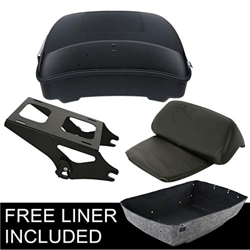 XFMT Chopped Tour Pak Pack Trunk Backrest +Rack Compatible with Harley Touring Road Glide 14-18