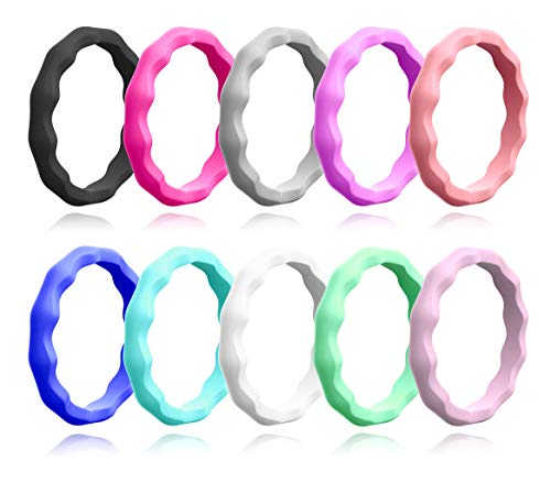 - ALEXTINA Set of 10 Thin Wave Ring Rubber Silicone Band Midi Kuckle Stacking Rings for Women Soft Comfort Fit Size 4