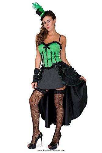Burlesque Costume, Showgirl Dress Cape Women, Green and Black, Medium -