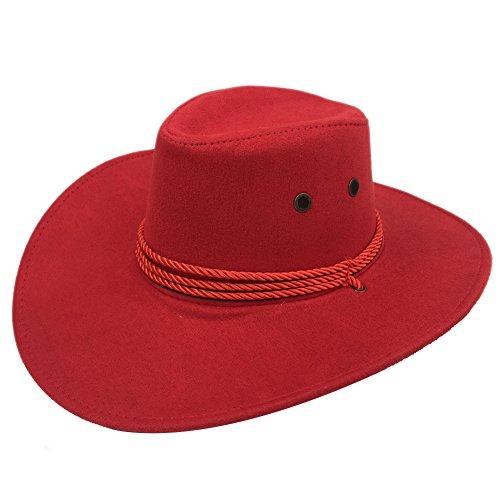 Sandy Ting Men's Outback Faux Felt Wide Brim Western Cowboy Hat (XNZM01-RD1) -