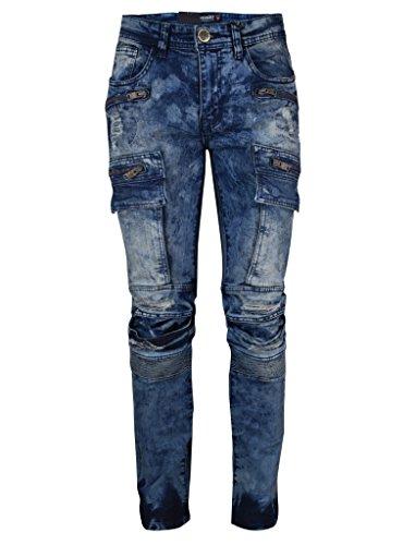 Screenshotbrand Mens Premium Moto Biker Denim Pants - Skinny Fit with Zippered Pockets