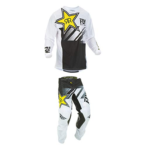 Fly Racing 2019 Kinetic Mesh Rockstar Jersey and Pants Combo White/Black Large,34