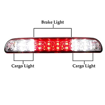 For 99-16 F250 F350 F-450 F-550 Ford Super Duty/93-11 Ranger/01-05 Ford Explorer/94-10 Mazda B-Series LED 3rd Brake Light High Mount Trailer Cargo Lamp (Chrome Housing Red Lens): Automotive