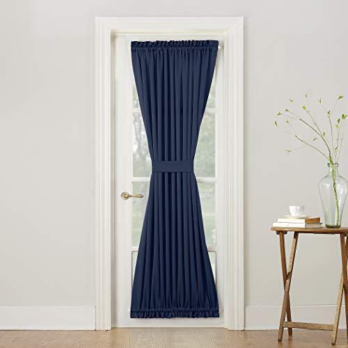 Sun Zero Barrow Energy Efficient Door Panel Curtain with Tie Back, 54 x 72, Navy Blue