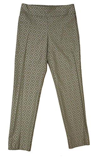 Krazy Larry Women's Geometric Print Pull On Ankle Pants (8, Taupe/Taupe Geometric) by Krazy Larry