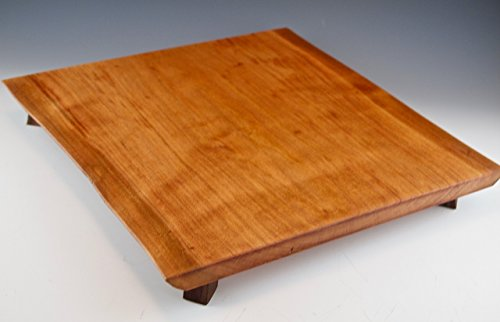 Cherry Serving Platter with two live edges and walnut footing