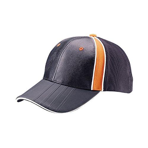 Flex Fit Sandwich Bill Cap (G Men's Low Profile Leather Feel Fitted Flex Cap (Black Orange))