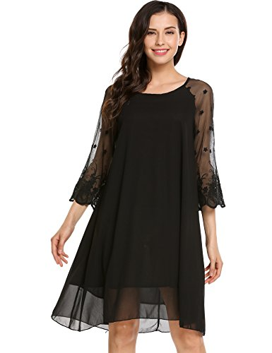 Zeagoo Women's Casual Lightweight Chiffon A-Line Swing Shift Dress (Black Chiffon A-line)