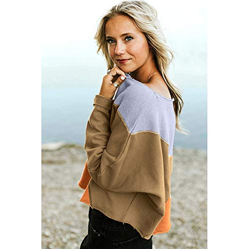 Strapless Fashion Rawdah Pullover Shirt Khaki T Blouse Patchwork Women Sleeve Sweatshirt Long wUTxEqgTSF