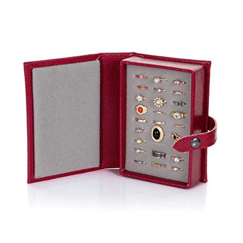 Schmuckschatulle für Ringe in Buch Form - Little Book of Rings- Hält 27 Ringe - Farbe Rot
