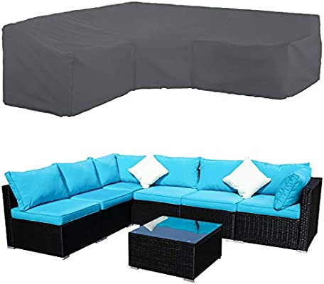 STARTWO Patio V-Shaped Sectional Sofa Cover, Patio Sectional Furniture  Cover Waterproof Outdoor Sofa Cover L-Shaped Garden Couch Protector 100\