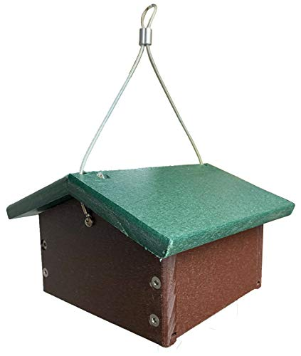 JCs Wildlife Recycled Upside Down Single Suet Feeder Brown W/Green Roof