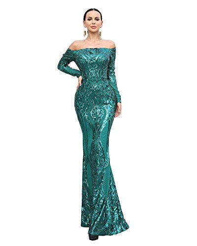 - Miss ord Sexy Bra Long Sleeve Retro Party Dress Sequin Maxi Dress L