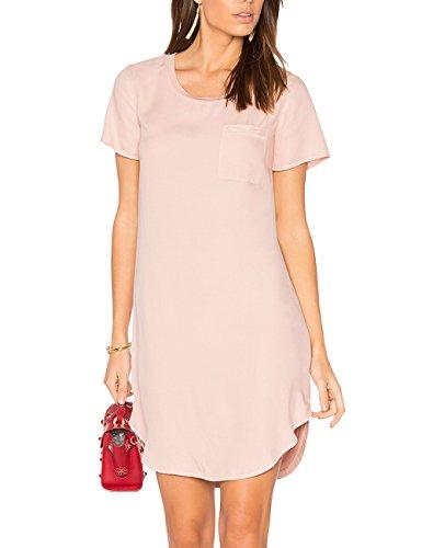 Ally-Magic Women's Tunic Casual Plain Simple Short Sleeve T-shirt Dress