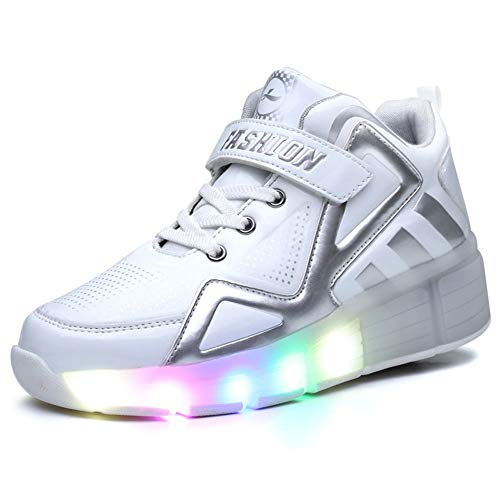 Price comparison product image Bloossom LED Light up Wheels Roller Shoes Skate Sport Sneakers(Single-White-34/2.5 M US Little Kid)