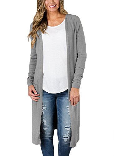 FIYOTE Women Open Front Knit Slit Cardigan Sweater Tops With Pockets Large Size Grey (Knit Cardigan Sweater Top)