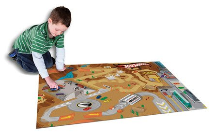 Schylling Hot Wheels Playmat Rug with Hot Wheels vehicle for kids indoor and outdoor play -  Tcg Toys, 30737