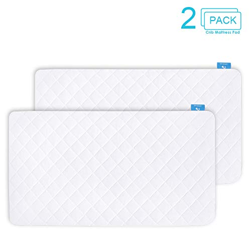 2 Pack Crib Mattress Protector, Toddler Waterproof Organic Bamboo Quilted Fitted Mattress Pad with 28 x 52 Baby Mattress Cover