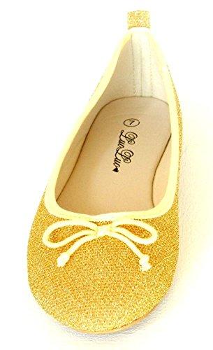 Womens Glitter Gnisten Ballett Flat Ballerina Damer Kvelden Aurlandssko Gull