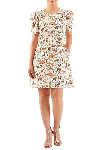 [eShakti Women's Pleat sleeve circus print crepe shift dress 2X-20W Tall Cream/multi] (Circus Dress)