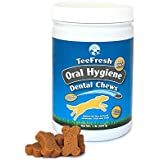 TeeFresh Oral Hygiene Dental Chews- Mini Bones. Reduces Plaque & Tartar buildup+ Minty Fresh Breath. 1 Pound of Dental Chews- GREAT VALUE