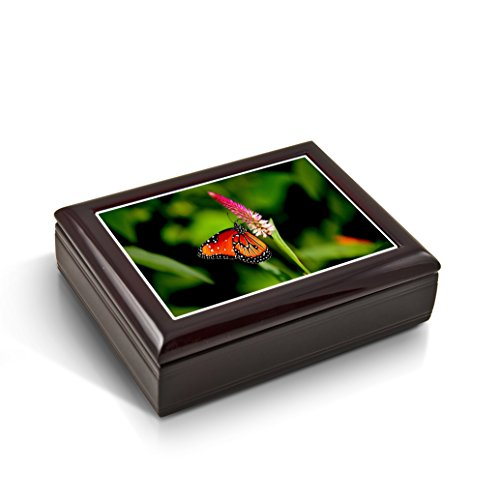 A Radiant Colorful Monarch Butterfly Tile Musical Jewelry Box - Rock of Ages - Christian Version by MusicBoxAttic