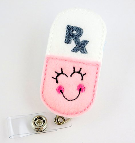 Smiley Pill RX Pharmacist Pink- Nurse Badge Reel - Retractable ID Badge Holder - Nurse Badge - Badge Clip - Badge Reels - Pediatric - RN - Name Badge Holder