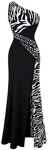Angel-fashions-Womens-One-Shoulder-Zebra-Gemstones-Splicing-Evening-Dress-Medium-Black