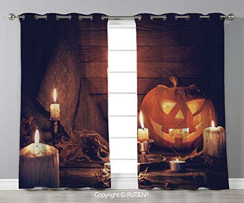 Grommet Blackout Window Curtains Drapes [ Halloween,Rustic Home Wooden Planks Burning Candles Pumpkin Sackcloth Harvesting Holiday Decorative,Orange Brown ] for Living Room Bedroom Dorm Room Classroom]()