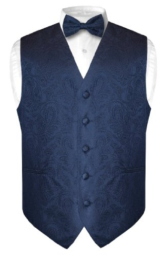 Vesuvio Napoli Men's Paisley Design Dress Vest & Bow Tie NAVY BLUE Color BOWTie Set sz Medium
