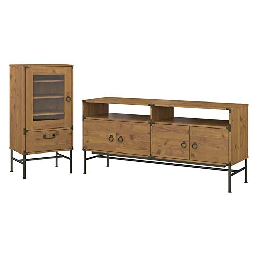 kathy ireland Home by Bush Furniture Ironworks 60W TV Stand with Audio Storage Cabinet in Vintage Golden Pine