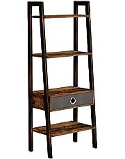 Rolanstar 4-Tier Rustic Ladder Shelf with Drawer, Bookshelf, Storage Rack Shelves, Stable Retro Metal Frame, for Living Room, Office Room