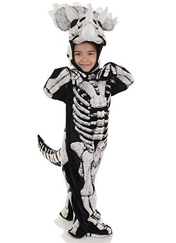 Underwraps Fossil Dinosaur Toddler Costume Fossil Triceratops - Medium ,Black -